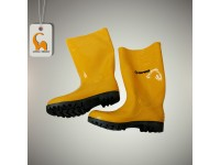 Yellow Rain Rubber Boots Safety Shoes Boot Opro With Steel Toe Caps Size 6-12 Kasut Getah Pua Chu Kang LittleThingy